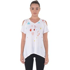 Music Cloud Heart Love Valentine Star Polka Dots Rainbow Mask Sky Cut Out Side Drop Tee