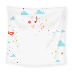 Music Cloud Heart Love Valentine Star Polka Dots Rainbow Mask Sky Square Tapestry (large) by Alisyart