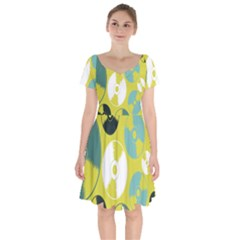 Streaming Forces Music Disc Short Sleeve Bardot Dress