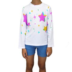 Star Triangle Space Rainbow Kids  Long Sleeve Swimwear