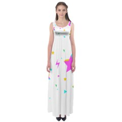 Star Triangle Space Rainbow Empire Waist Maxi Dress