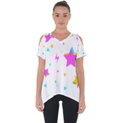 Star Triangle Space Rainbow Cut Out Side Drop Tee