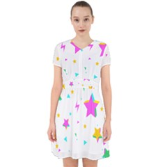 Star Triangle Space Rainbow Adorable In Chiffon Dress