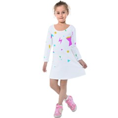 Star Triangle Space Rainbow Kids  Long Sleeve Velvet Dress