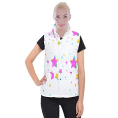 Star Triangle Space Rainbow Women s Button Up Puffer Vest