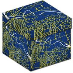 Map Art City Linbe Yellow Blue Storage Stool 12
