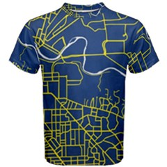 Map Art City Linbe Yellow Blue Men s Cotton Tee