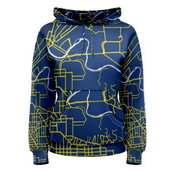 Map Art City Linbe Yellow Blue Women s Pullover Hoodie