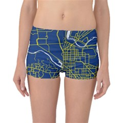Map Art City Linbe Yellow Blue Boyleg Bikini Bottoms