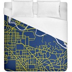 Map Art City Linbe Yellow Blue Duvet Cover (king Size)