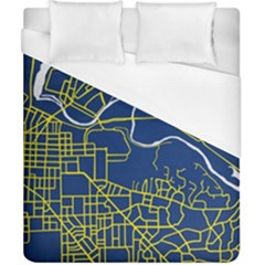 Map Art City Linbe Yellow Blue Duvet Cover (california King Size) by Alisyart