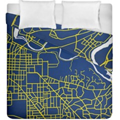 Map Art City Linbe Yellow Blue Duvet Cover Double Side (king Size) by Alisyart