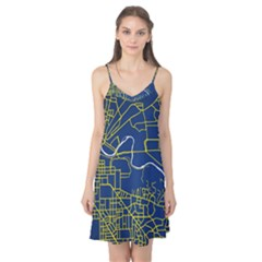 Map Art City Linbe Yellow Blue Camis Nightgown
