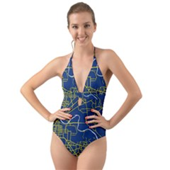 Map Art City Linbe Yellow Blue Halter Cut Out One Piece Swimsuit by Alisyart