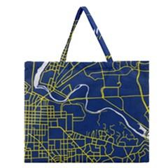 Map Art City Linbe Yellow Blue Zipper Large Tote Bag by Alisyart