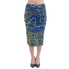 Map Art City Linbe Yellow Blue Midi Pencil Skirt