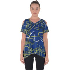 Map Art City Linbe Yellow Blue Cut Out Side Drop Tee