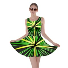 Fireworks Green Happy New Year Yellow Black Sky Skater Dress by Alisyart