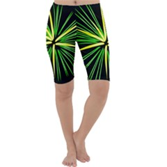 Fireworks Green Happy New Year Yellow Black Sky Cropped Leggings  by Alisyart