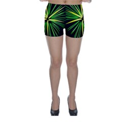 Fireworks Green Happy New Year Yellow Black Sky Skinny Shorts