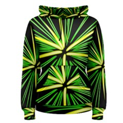 Fireworks Green Happy New Year Yellow Black Sky Women s Pullover Hoodie