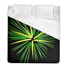 Fireworks Green Happy New Year Yellow Black Sky Duvet Cover (full/ Double Size) by Alisyart