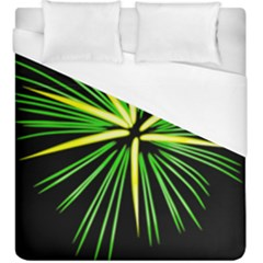 Fireworks Green Happy New Year Yellow Black Sky Duvet Cover (king Size)