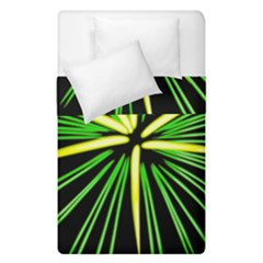 Fireworks Green Happy New Year Yellow Black Sky Duvet Cover Double Side (single Size) by Alisyart