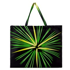 Fireworks Green Happy New Year Yellow Black Sky Zipper Large Tote Bag
