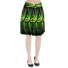 Fireworks Green Happy New Year Yellow Black Sky Pleated Skirt