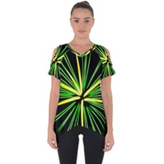 Fireworks Green Happy New Year Yellow Black Sky Cut Out Side Drop Tee