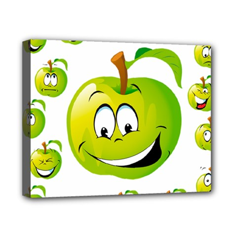 Apple Green Fruit Emoji Face Smile Fres Red Cute Canvas 10  X 8
