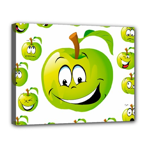 Apple Green Fruit Emoji Face Smile Fres Red Cute Canvas 14  X 11  by Alisyart