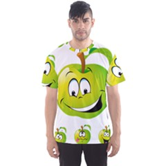 Apple Green Fruit Emoji Face Smile Fres Red Cute Men s Sports Mesh Tee by Alisyart