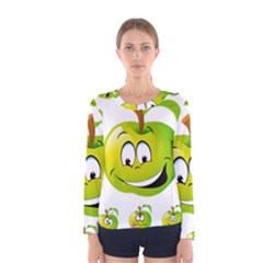 Apple Green Fruit Emoji Face Smile Fres Red Cute Women s Long Sleeve Tee by Alisyart