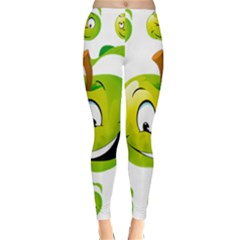 Apple Green Fruit Emoji Face Smile Fres Red Cute Classic Winter Leggings