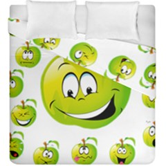 Apple Green Fruit Emoji Face Smile Fres Red Cute Duvet Cover Double Side (king Size) by Alisyart
