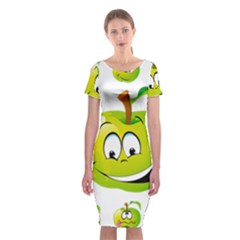 Apple Green Fruit Emoji Face Smile Fres Red Cute Classic Short Sleeve Midi Dress by Alisyart