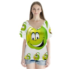 Apple Green Fruit Emoji Face Smile Fres Red Cute V Neck Flutter Sleeve Top