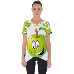 Apple Green Fruit Emoji Face Smile Fres Red Cute Cut Out Side Drop Tee