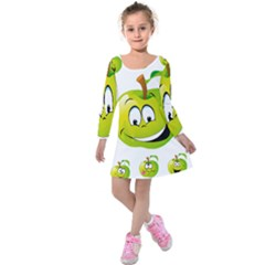 d87c9a15b93e Apple Green Fruit Emoji Face Smile Fres Red Cute Kids Long Sleeve Velvet  Dress by Alisyart