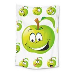 Apple Green Fruit Emoji Face Smile Fres Red Cute Small Tapestry
