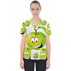 Apple Green Fruit Emoji Face Smile Fres Red Cute Scrub Top
