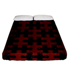 Puzzle1 Black Marble & Red Wood Fitted Sheet (queen Size) by trendistuff