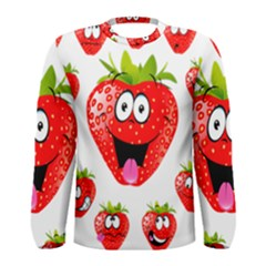 Strawberry Fruit Emoji Face Smile Fres Red Cute Men s Long Sleeve Tee