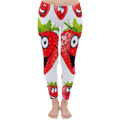 Strawberry Fruit Emoji Face Smile Fres Red Cute Classic Winter Leggings