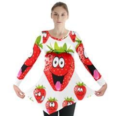 Strawberry Fruit Emoji Face Smile Fres Red Cute Long Sleeve Tunic