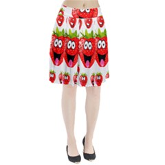 Strawberry Fruit Emoji Face Smile Fres Red Cute Pleated Skirt