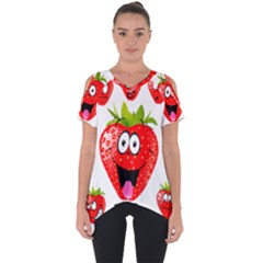 Strawberry Fruit Emoji Face Smile Fres Red Cute Cut Out Side Drop Tee