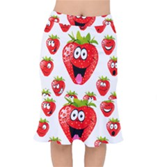 Strawberry Fruit Emoji Face Smile Fres Red Cute Mermaid Skirt